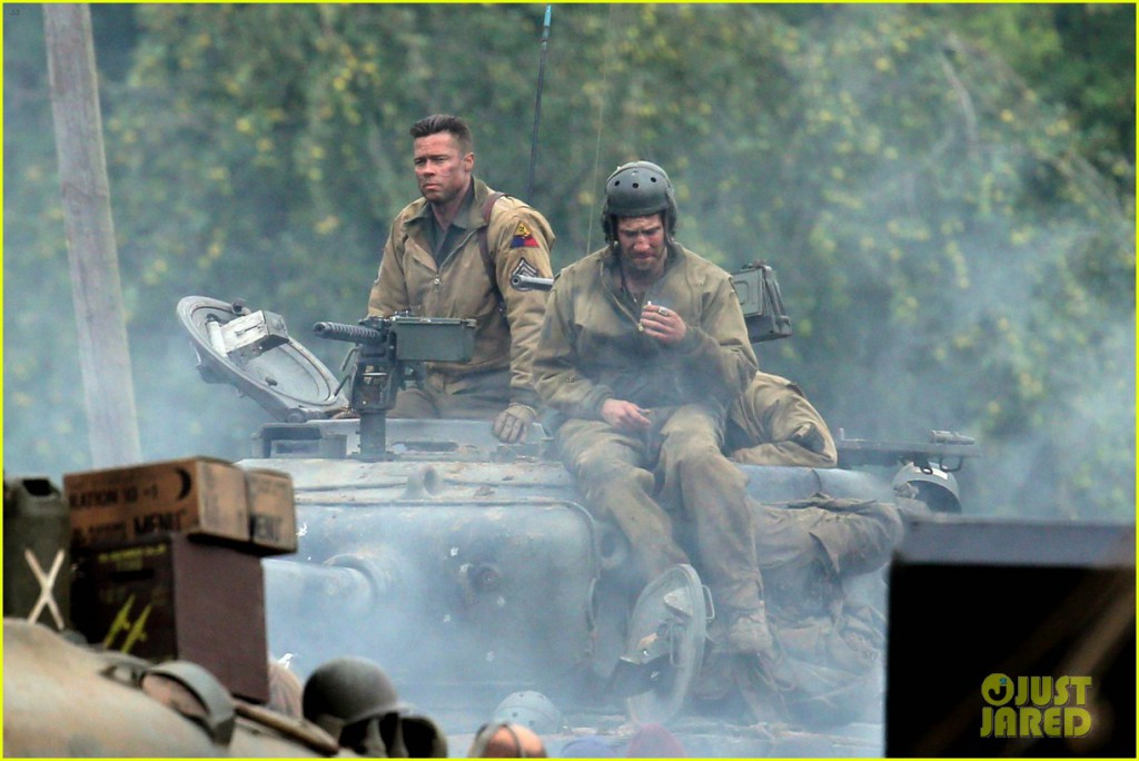 Brad Pitt seen on set of new film Fury.