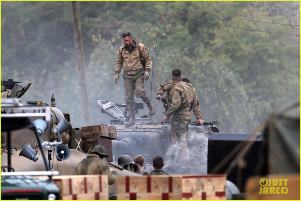 Brad Pitt seen on set of new film Fury.