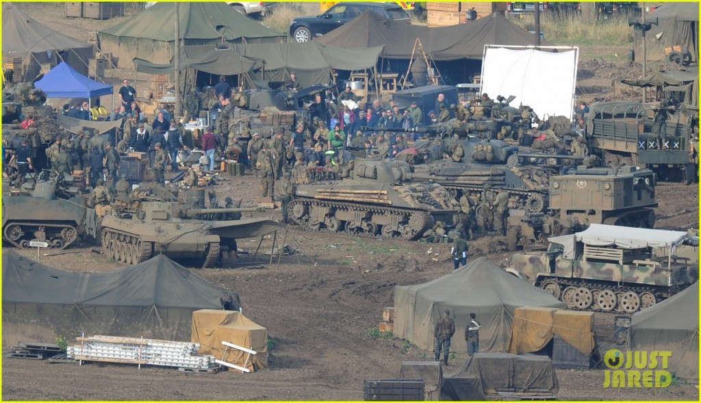 "Brad Pitt and Shia Lebeouf on set of WWII movie ""Fury"" **USA ONLY**"